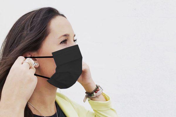 mascarilla negra quirúrgica comodon